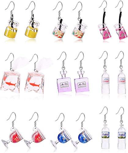 CASSIECA 9 Paare Goldfisch Ohrringe Lustige Wasser Flasche Ohrringe Vodka Bottle Ohrringe Fruchtsaft Trinkstil Cartoon Transparente Flasche Baumeln Ohrringe Für Frauen Mädchen