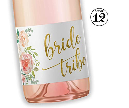 BRIDE TRIBE Mini Champagne Bottle Labels ● SET of 12 ● Bachelorette Party Mini Wine Label, Bride Squad Wine Labels, Bridal Shower Mini Champagne Labels, BUBBLY for My Bride Tribe WATERPROOF M612-BT-12