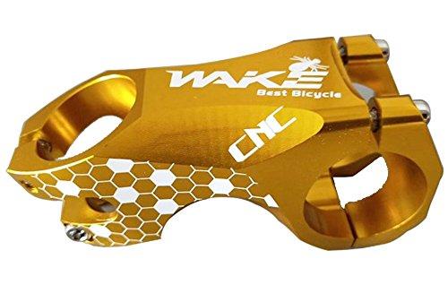 Wake Vástago de la bicicleta los 31.8MM, Tallo completa CNC forjado de aleación de aluminio manillar de la bici (amarillo, 60)