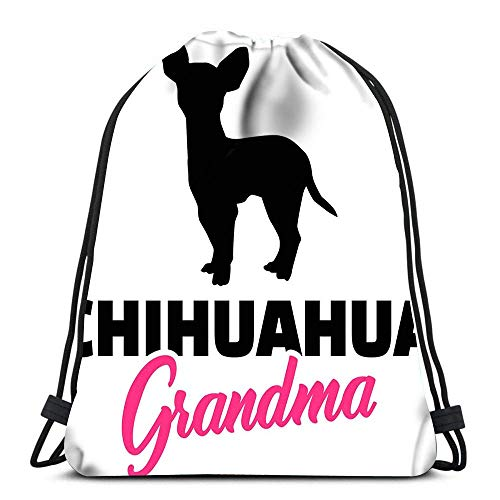 WH-CLA Unisex Drawstring Bags,Chihuahua Grandma Silhouette In Black Sport Gym Bag Casual Sackpack Backpack Foldable Tote Sack Cinch Bag For Running Climbing Traveling