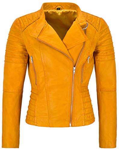 Damen Lederjacke Biker Fashion Style Tops Zipped Real Lambskin Lederjacke 9393 (10 Für Büste 80 cm, Yellow)