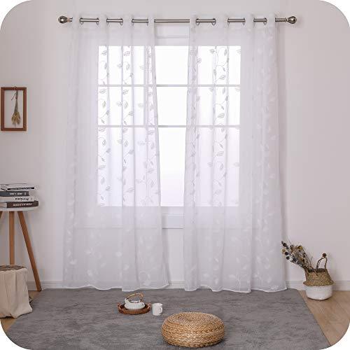 UMI. by Amazon 2 Stück Voile Vorhang Ösenvorhang Transparent Gardinen Wohnzimmer Vorhang Blätter Stickerei 240x140 cm Weiß
