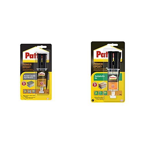 Pattex Power Epoxy Acciaio Liquido, Colla Epossidica, Bicomponente Color Metallo A Base Di Resina Epossidica & Power Epoxy Saldatutto Mix 5 Minuti, Forte Colla Epossidica, Bicomponente A Elevata