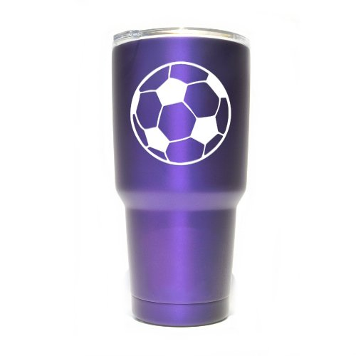 Soccer Ball Vinyl Decals Stickers (2 Pack!!!) | Yeti Tumbler Cup Ozark Trail RTIC Orca | Decals Only! Cup not Included! | 2-3 X 3 inch White Decals | KCD1130W