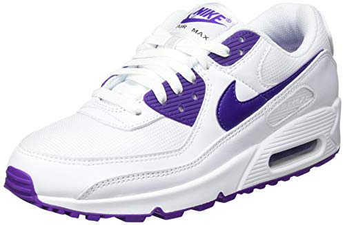 Nike Air MAX 90, Zapatillas para Correr Hombre, White Voltage Purple Black, 43 EU