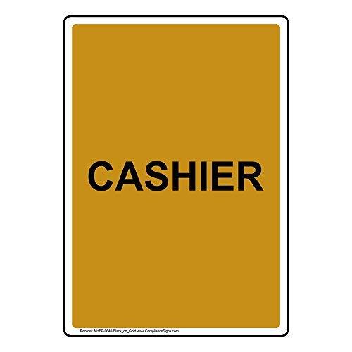 Wendana Vertikales Kassenschild, lustige Metall-Warnschilder für Eigentum, Aluminium, Torschild, Zaunschild, Outdoor, 20,3 x 30,5 cm, mit englischem Text, Schwarz auf Gold