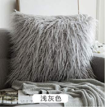 YOTINO 2 pcs Funda Gris para Almohadas de Sofa de Cama 45 X 45cm Fundas de Sintética de Lana para Decoración Cojín Cubierta para Cama para Sofa Funda Almohada de Suave Piel Sintética de Lana