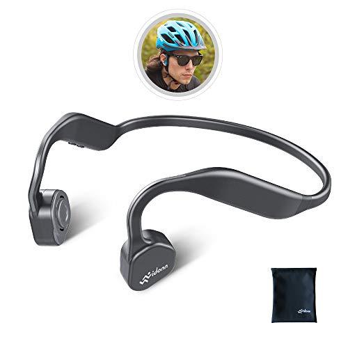 Vidonn F1 骨伝導イヤホン 耳掛け式 Bluetooth ヘッドホン 高音質 チタン合金 こつでんどう ワイヤレスイヤホン 防水防汗 スポーツ 超軽量 マイク内蔵 ブルートゥース イヤホン - グレー