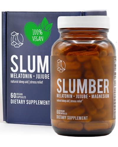 Sleep Aid Natural Sleeping Pills for Adults Extra Strong by Slumber | Deep Sleep Aids for Adults Extra Strength | Organic Melatonin Magnesium Sleep Supplements for Adults | Sleep Medicine for Adults
