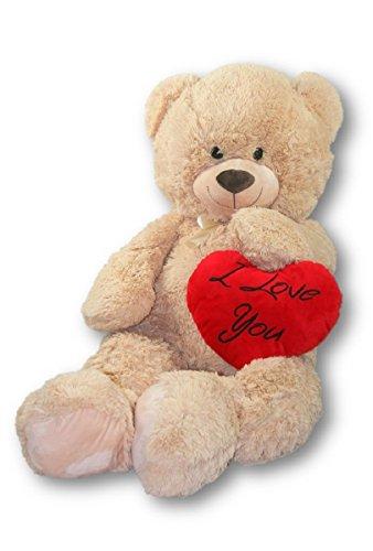 Geschenkestadl XXL Teddybär 100 cm mit Herzkissen I Love You Set Kuscheltier Stofftier Plüschtier Teddy Herz