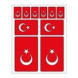 Generisch 10 Stück Flaggen Aufkleber Türkei Set | Sticker Türkiye Autoaufkleber