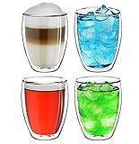 Creano doppelwandiges XXL Thermoglas 400ml, Extra großes hitzebeständiges Kaffeeglas/Teeglas/Latte Macchiato aus Borosilikatglas, 4er Set