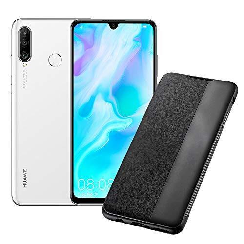 """HUAWEI P30 Lite Smartphone and Cover, 4 GB RAM, 128 GB Memory, 6.15 """"FHD + Display, Triple Rear Camera 48 + 8 + 2 MP, Front Camera 24 MP, White [Italian Version]"""