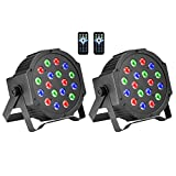 DJ Lights, BSYUN RGB 18 LEDs Professional Sound Activated Stage Lights DMX-512 Controllable Uplighting for Wedding Party with Remote (2P)