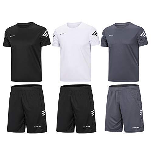 BUYJYA Men's Active Athletic Shorts Shirt Set 3 Pack for Workouts Basketball Football Exercise Training Running (3PACK(Black/White/Grey), XL)