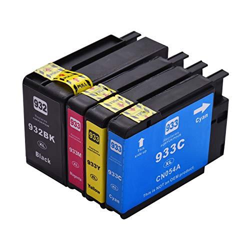 Aibecy Cartucho de tinta compatible de repuesto para impresora 932933 932XL 933XL de alto rendimiento Compatible con impresora HP Officejet 6100 6600 6700 7110 7612 7610 7510 Paquete de 4