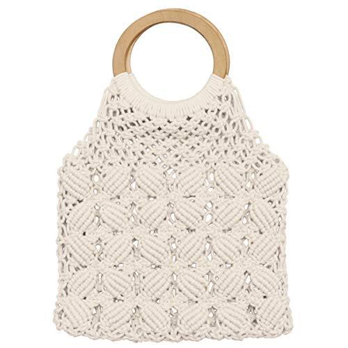 Lurrose Coton Corde Sac De Plage Boho De Pêche Net Fourre-Tout Sac Évider Poignée Sac avec En Bois Poignée Ronde pour Femmes Filles Blanc