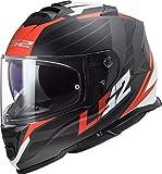 LS2 NC Casco per Moto, Hombre, Negro/Rojo/Blanco, M