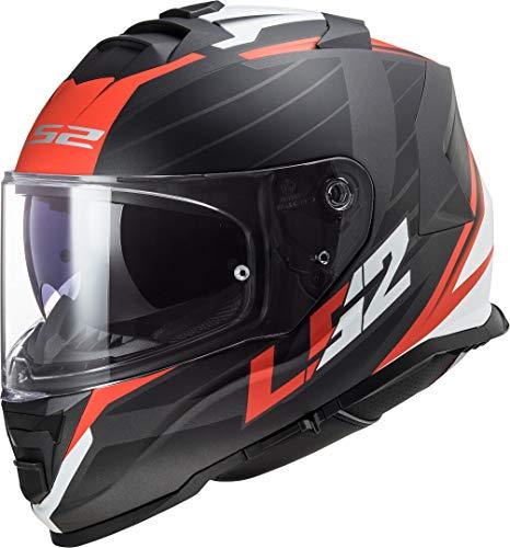 LS2 Motorradhelm FF800 STORM NERVE MATT BLACK RED, Schwarz/Rot/Weiss, M