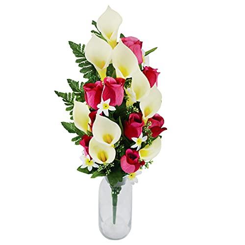 Rabbihom Grande 65x30cm Calla Rose Flores Artificiales Flores Falsas Ramo de plástico Realista Planta Artificial Interior y Exterior Jardín de la casa Florero de Boda Mesa Cementerio Decoración