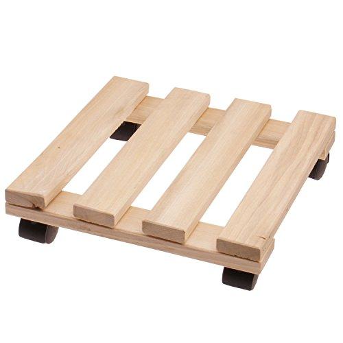 Support porte plantes à roulettes 25 x 25 cm en bois de hêtre - Tablette pour plante avec 4 roulettes