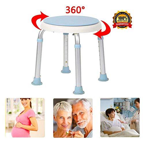 AKQ Rund Duschhocker Höhenverstellbar 37-49 cm Capicity 150kg, 360°Drehbarer Anti-Rutsch Badewannensitz für Senioren Behinderte Schwangere