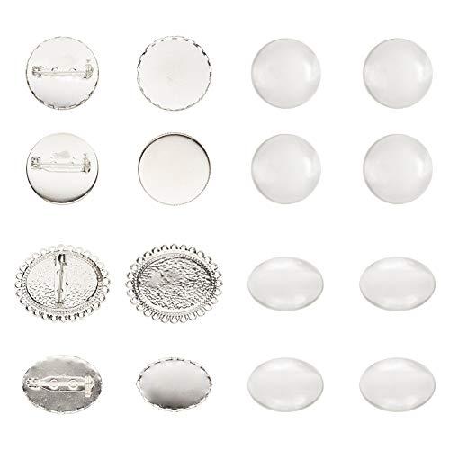NBEADS Bandejas de Broche de Cabujón, 20 Sets 4 Tipos de Bandejas de Broche de Latón Y Cúpula de Cabujón de Vidrio para Mujeres Broche de Bricolaje