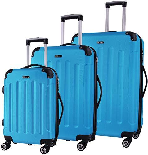 Shaik® Hartschalen-Koffer Trolley Rollkoffer Reisekoffer mit TSA-Schloss und 4 Rollen (Türkis, 3er Set)