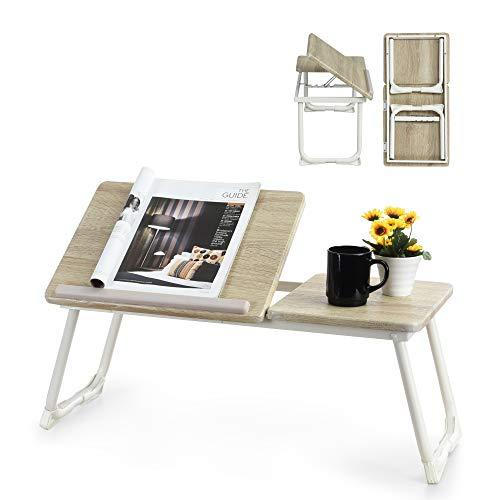 Supporto mobile computer portatile tavolo pieghevole da tavolo regolabile in legno di faggio bianco Beech