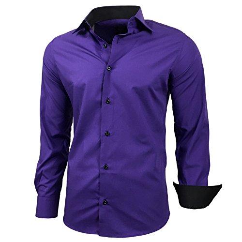 Baxboy Herren-Hemd Slim-Fit Bügelleicht Für Anzug, Business, Hochzeit, Freizeit - Langarm Hemden für Männer Langarmhemd R-44, Größe:XL, Farbe:Lila