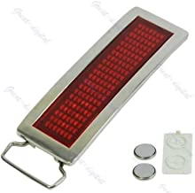 Programmable LED Light Text Screen Display Scrolling Red LED Chrome Belt Buckle