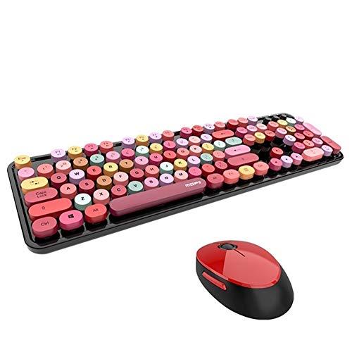 LQC Drahtlose Tastatur, drahtlose Bluetooth Tastatur-Maus-Set Nette Steampunk 2.4G Wireless Mouse...