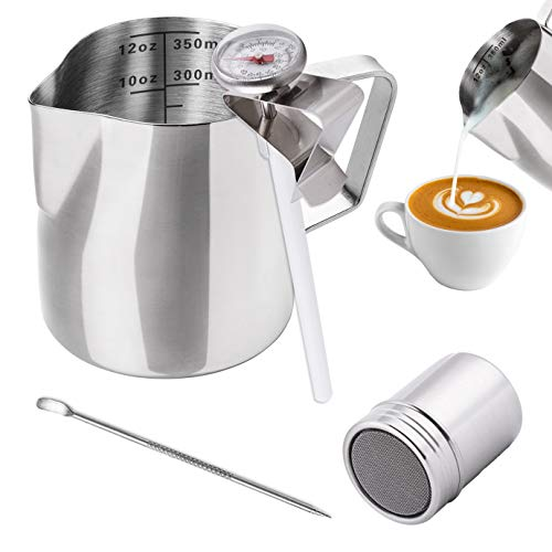 WXJ13 Milk Jug 350ml/12OZ, Stainless Steel Milk Frothing Pitcher, Milk Thermometer with Clip, Powder Shaker with Lid and Latte Art Pen for Hot Chocolate Cappuccino Coffee Latte Art Maker