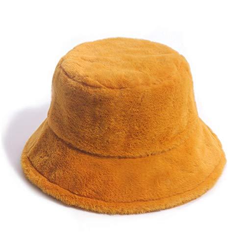 Invierno al Aire Libre Vacaciones señora Negro sólido Espesado Suave cálido Gorra de Pesca Sombrero de Cubo para Mujer-Yellow