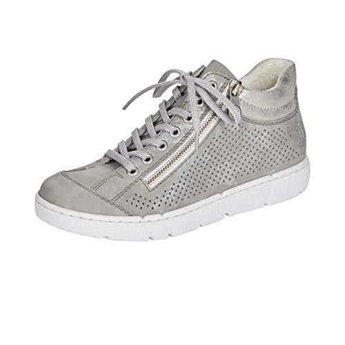 Rieker Damen High-Top Sneaker N1745, Frauen Halbschuhe,lose Einlage,Ladies,Women's,Woman,schnürschuhe,schnürer,mid,Cut,grau (40),40 EU / 6.5 EU