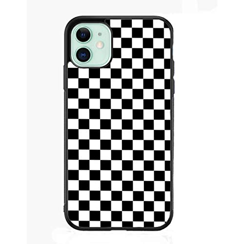 Black White Checkered Flag Case Compatible with iPhone 11,Geometric Checkered Pattern Cases, Custom Thin Protective Phone Cases with Soft TPU Tempered Mirror Material for Women Girls (D-Checker)