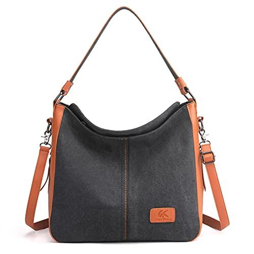 AIEOE Bolso de mano de lona para mujer, casual, multifuncional, grande, Black (Negro) - XYSM349804963