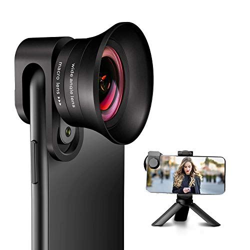 Phone Camera Lens Pro with Tripod - ANGFLY 4K HD 2 in 1 Aspherical Wide Angle Lens &...