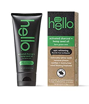 Hello Activated Charcoal Hemp Seed Oil Epic Whitening Toothpaste 4 Ounce Fluoride Free SLS Free