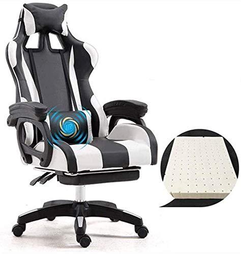 JCXOZ Gaming Chair, für PC Racing Gamer Chair High Back einstellbar Spielstuhl, Größere Erwachsene Computer Spielstuhl Armlehne Einstellbare Lendenwirbelstütze Ergonomisches Design Bürostühle