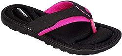 Dunlop Damen-Flip-Flops aus Gedächtnisschaum, Badeschuhe für den Strand- Gr. 38 EU / 5 UK / 8 US, Black - Fuchsia