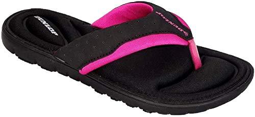 Dunlop Damen-Flip-Flops aus Gedächtnisschaum, Badeschuhe für den Strand- Gr. 40 EU / 7 UK / 10 US, Black - Fuchsia