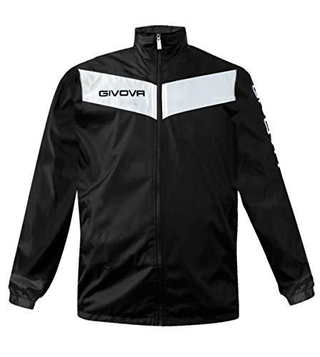 Giosal Regenjacke Winddicht Givova Rain Schild Training Jacke Sport Schwarz/Weiß-XS
