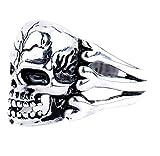 KIRALOVE Anillo - Calavera - Calavera - Punk - Steampunk - gótico - 3 Huesos - bisutería - Hombre - niño - Color Plata - Talla ES 22 Dark
