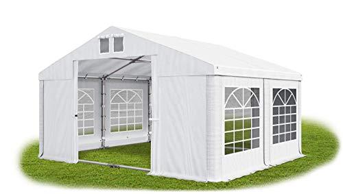 Das Company Partyzelt 4x4m wasserdicht weiß mit Bodenrahmen und Dachverstärkung 560g/m² PVC Plane Robust Festzelt Gartenzelt Summer Plus SD