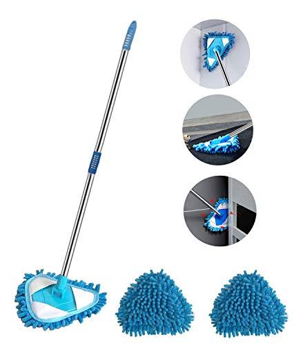 Lazy Triangle Reinigungsmopp, 180 Grad drehbar, Mini-Mop, für Zuhause, Badezimmer, Boden, Wand, Sofa, Bett, Boden, einfache Installation und Lagerung