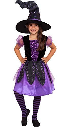 Magicoo Oktopus-Hexe: Hexenkostüm Kinder Mädchen inkl. Kleid & Hut - Gr 110 bis 140 - Halloween Hexe-Kostüm Kind (122/128)