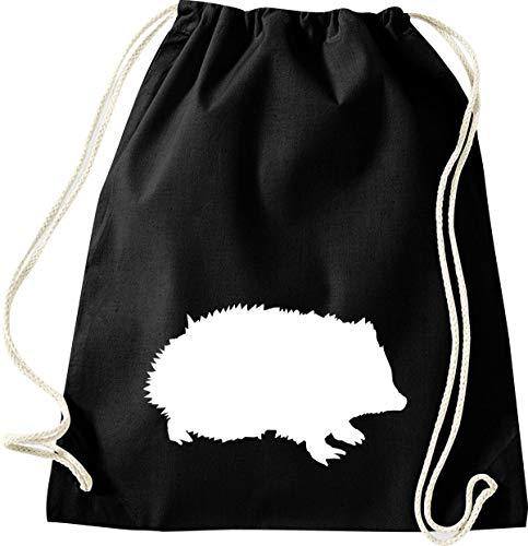 Shirtinstyle - Sacca da palestra, per lo sport, motivo zoo, animali, natura, animali, motivo a riccio, 46 x 36 cm