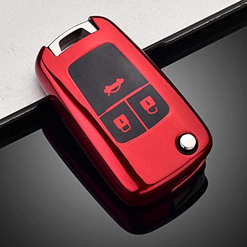 SZXia - Carcasa para llave de coche de TPU suave, para Chevrolet Cruze Aveo Trax Sail Malibu Captiva Opel Vauxhall Astra J Corsa Insignia Mokka (rojo)