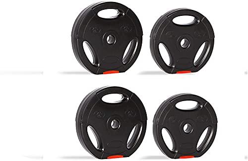 zoomyo Peak Power Discos de Pesas, Set de 4 Pesas con Agujero estándar de 30 mm, compatibles con Las Barras Cortas y largas habituales, con Tres Asas para el Entrenamiento Libre (15)